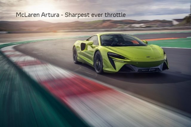 McLaren Artura #FactFriday - #DidYouKnow the all-new Artura harnesses the sharpest throttle of any McLaren? This evolution of the P1 e-motor system has 33% greater power density and generates ferocious acceleration from instant torque and torque-fill between gear shifts. . #McLarenOrlando #McLarenArtura #P1 #eMotor #InstantTorque #HybridTechnoloy #TGIF #Supercars #Orlando