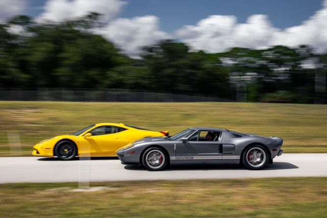 How about a #FordvsFerrari Friday today? ❗️❗️ These two beauties are available now – contact us for more details and let us know which fast car you prefer 🏁 #FordGT #Ferrari #458Speciale #TGIF #FerrariFriday #FordFriday